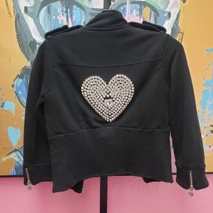 Twisted Heart Jacket with Huge Rhinestone Heart
